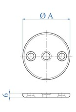 I AM Design Bodemplaat geslepen - centrale boring Ø10,5mm - 2 gaten verzonken