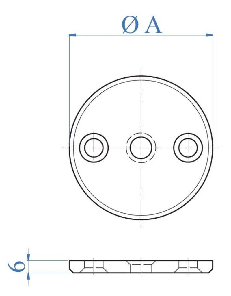 I AM Design Platine de base polie - alésage central Ø10,5mm - 2 trous fraisés