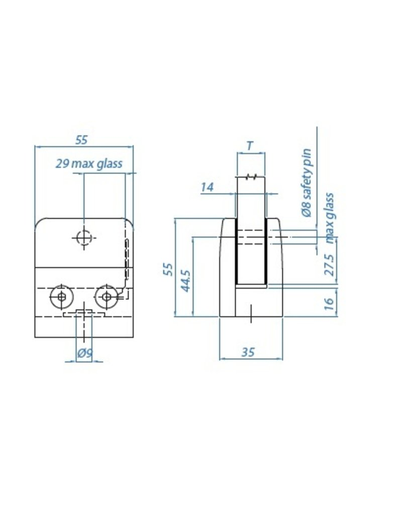 I AM Design Pince à verre V2A 55x55x35mm plat