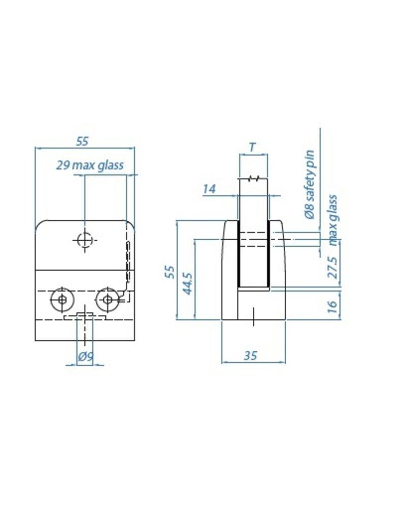 I AM Design Glasklem V2A 55x55x35mm 42.4mm