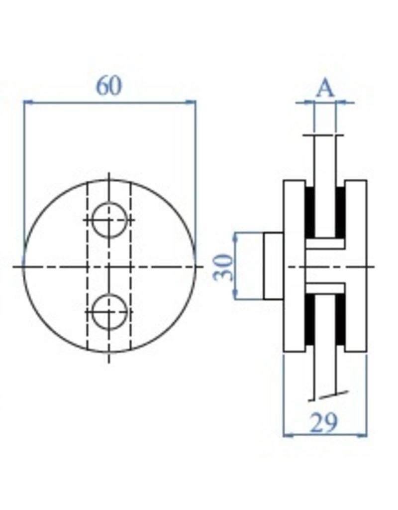 """I AM Design Glasklem V2A dia 60mm - 2 3/8"""""""