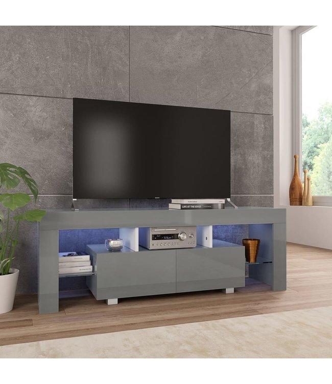 Tv Meubel Led.Vidaxl Tv Meubel Met Led Verlichting 130x35x45 Cm Hoogglans Grijs
