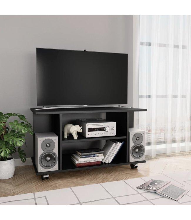 Zwart Tv Meubel Op Wielen.Vidaxl Tv Meubel Met Wieltjes 80x40x40 Cm Spaanplaat Zwart