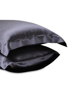 Seiden Kissenbezüge 22mm anthrazitgrau
