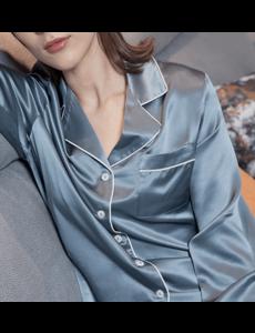 Damen Seiden-Nachthemd nebelblau