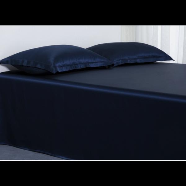 Seiden Betttuch / Bettlaken 22momme navy blau