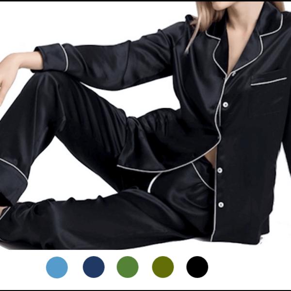 Langärmliges seiden Pyjama Set für Damen