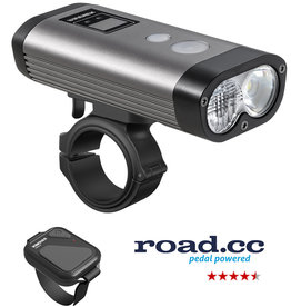 Ravemen PR1600 USB Rechargeable DuaLens Front Light with Remote in Grey/Black (1600 Lumens)