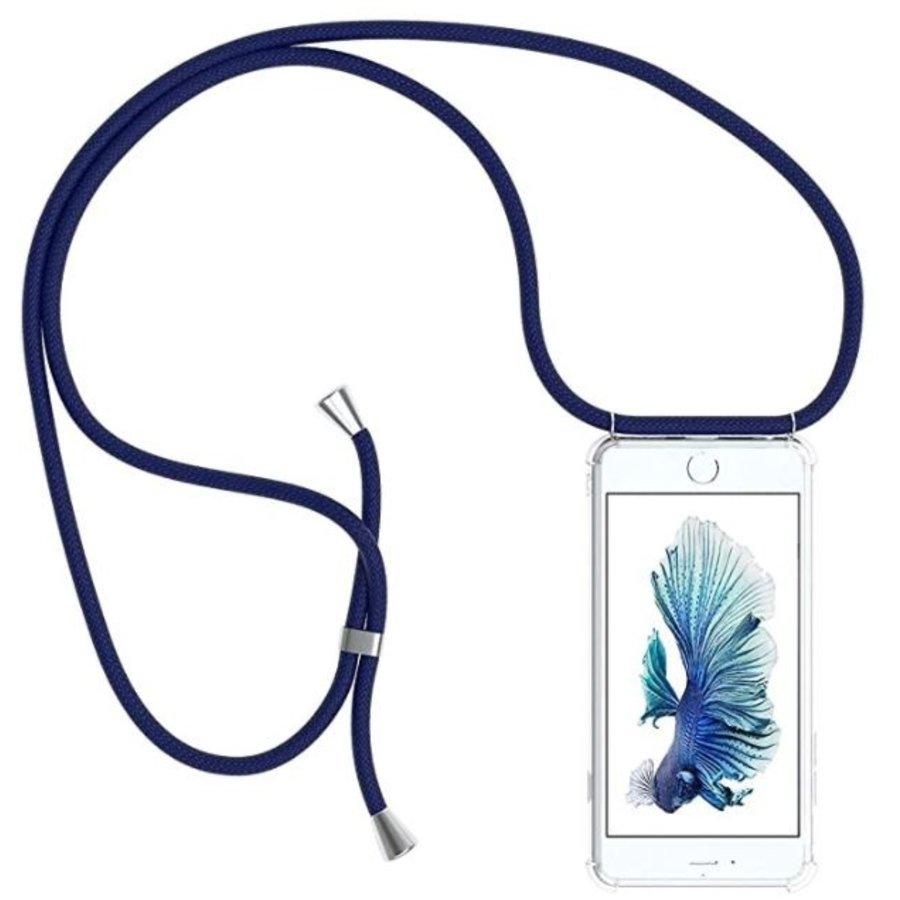 Telefoonhoesje met koord iPhone 7/8 (donker blauw koord)-3