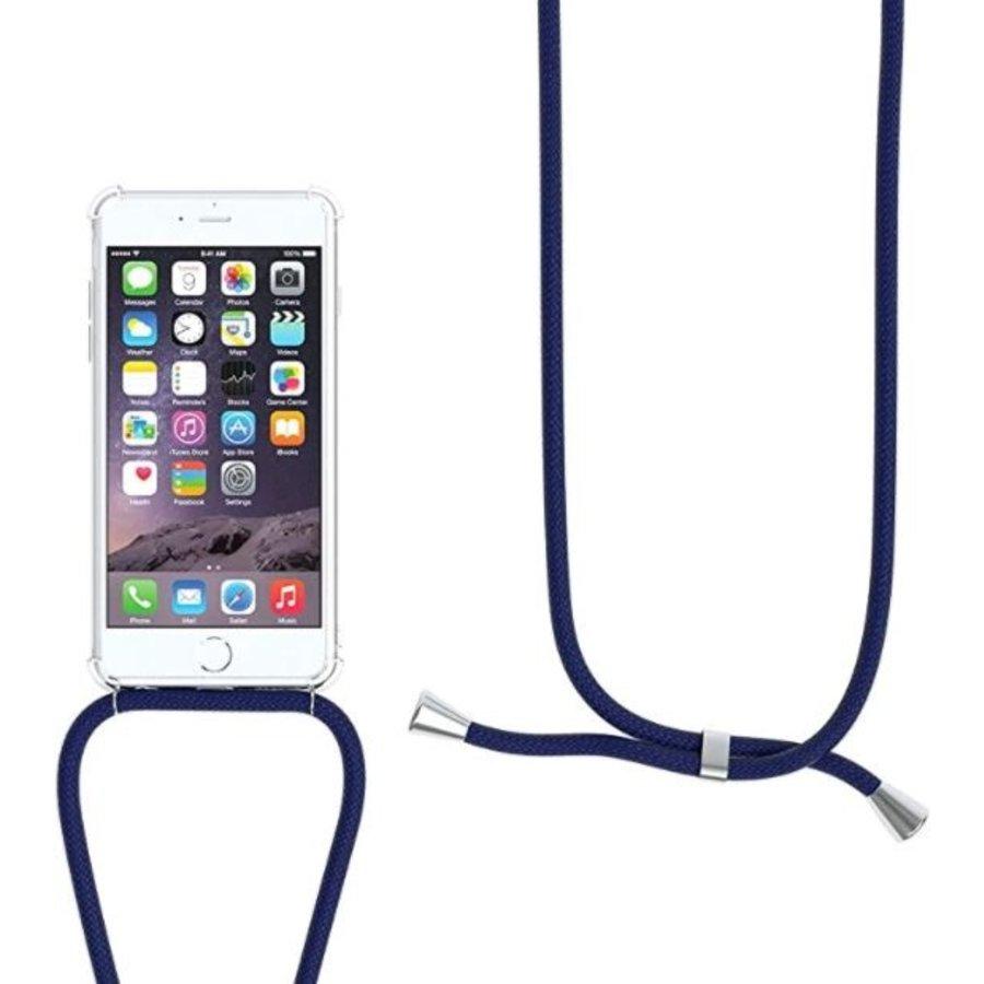 Telefoonhoesje met koord iPhone 7/8 (donker blauw koord)-2