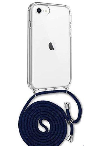 Apple Telefoonhoesje met koord iPhone 7/8  (donker blauw koord)
