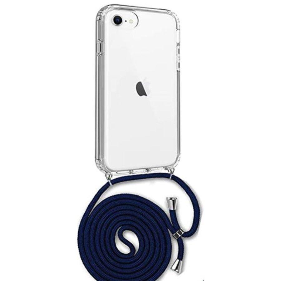 Telefoonhoesje met koord iPhone 7/8 (donker blauw koord)-1