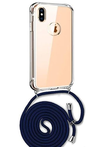 Apple Telefoonhoesje met koord iPhone X / XS  (donker blauw koord)