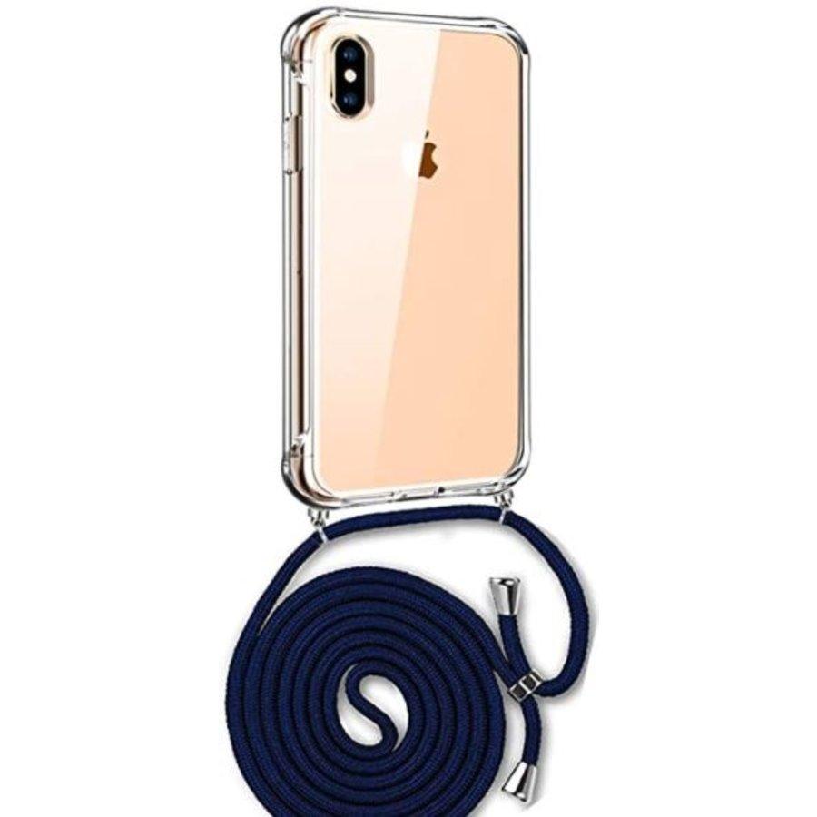 Telefoonhoesje met koord iPhone XS Max  (donker blauw koord)-1