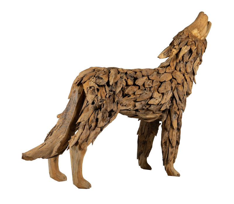 Teakhouten Wolf (Groot)