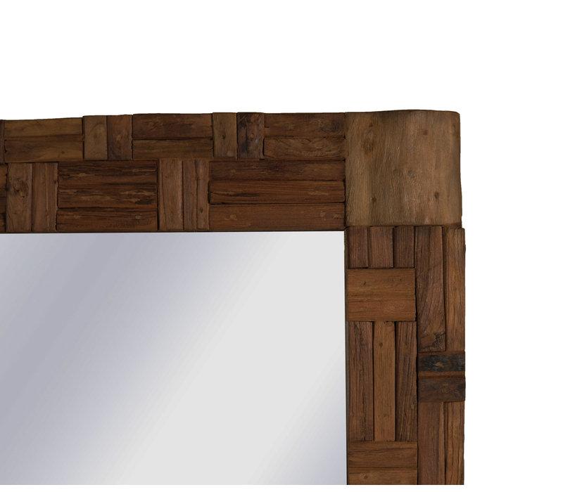 Geblokte Teakhouten Spiegel 160 cm