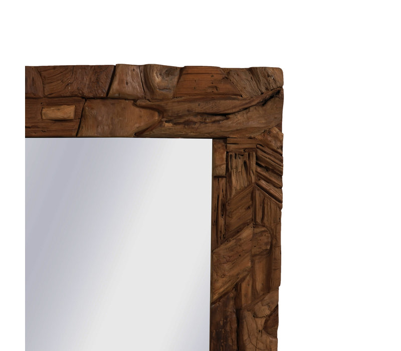 Teakhouten Rustieke Spiegel 100 x 100 cm