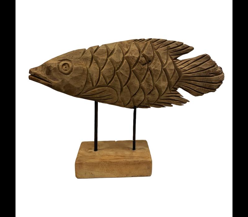 Teakhouten vis op standaard
