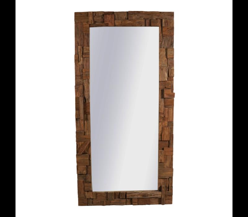 Decoratieve Teakhouten Spiegel