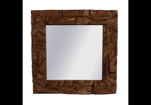 JoJo Living Teakhouten Rustieke Spiegel 100 x 100 cm