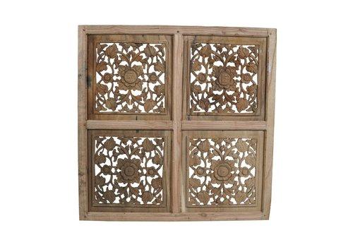 JoJo Living Teakhouten muurdecoratie houtsnijwerk