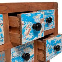 Gekleurd teakhouten kastje