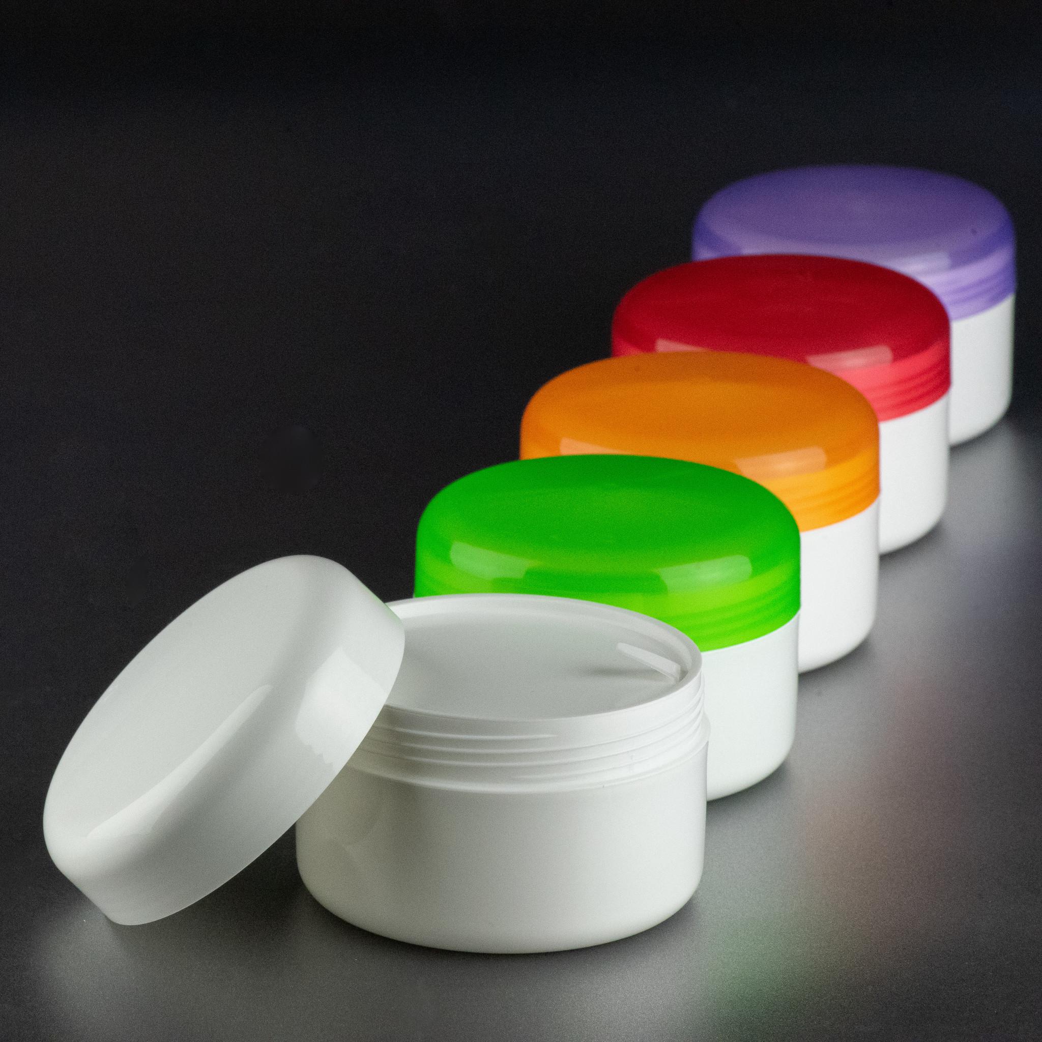 handcréme pot - cosmetica verpakking - gekleurde deksel