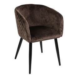 Mace velvet stoel met armleuning bruin