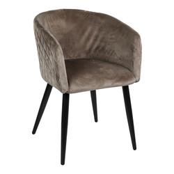 Mace velvet stoel met armleuning zandkleur