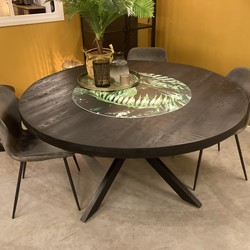 Ronde Eetkamertafel Mango 130 cm Zwart