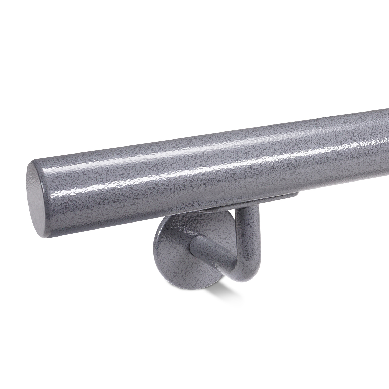 Trapleuning hamerslag gecoat rond incl. dragers TYPE 3 - voorzien van een grijze hamerslag look poedercoating