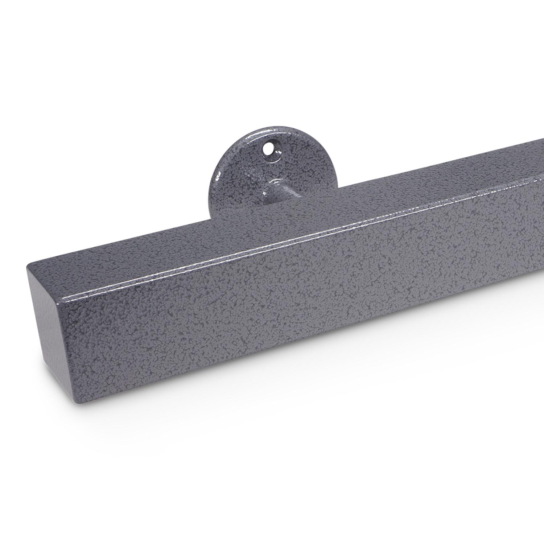Trapleuning hamerslag gecoat vierkant 40*40 incl. dragers TYPE 4 - voorzien van een grijze hamerslag look poedercoating