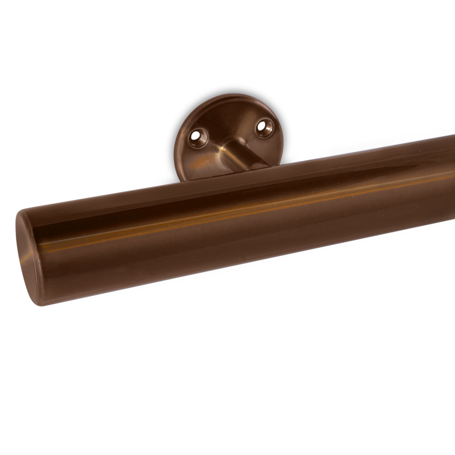 Trapleuning brons gecoat rond incl. dragers TYPE 4 - messing - goud - brons poedercoating