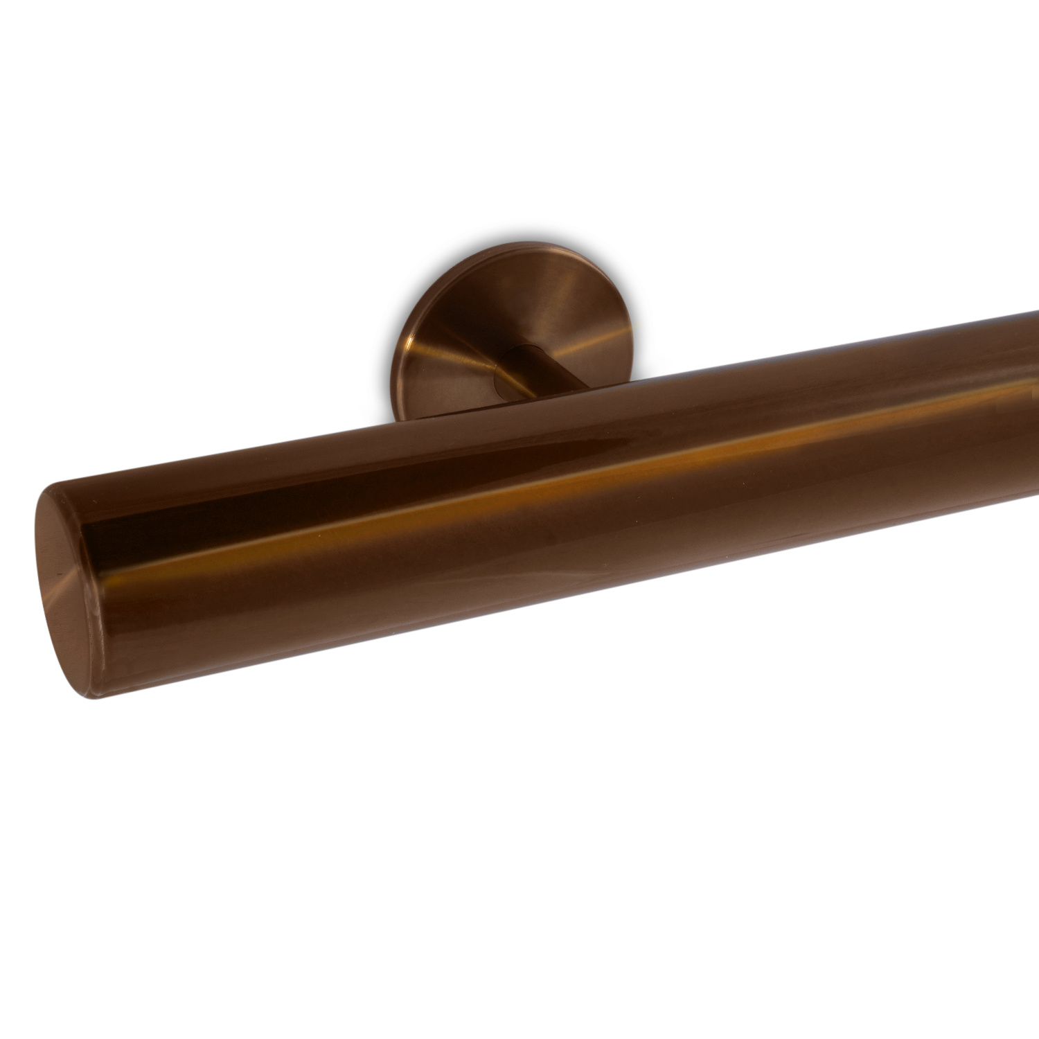 Trapleuning brons gecoat rond incl. dragers TYPE 5 - messing - goud - brons poedercoating