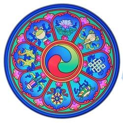 Raamsticker Tibetaanse Voorspoedbrengende Symbolen -- 14 cm