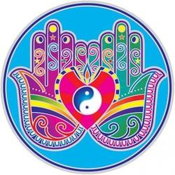 Raamsticker Genezende Handen Mandala -14 cm