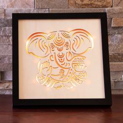 Ganesha LED verlichting, hout 24 cm