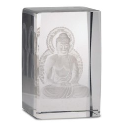 Kristal laser Boeddha op lotustroon rechthoekig