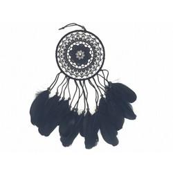18cm gehaakte dromenvanger zwart met ganzenveer