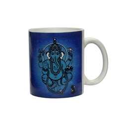 Ceramic White Coffee Mug- Ganesha
