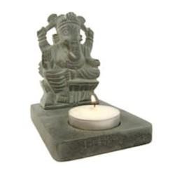 Ganesha waxinelichthouder grijs zeepsteen