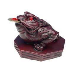 Minibeeldje Feng Shui kikker rood