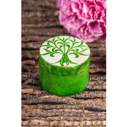Groen zeepsteen doosje levensboom