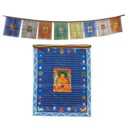 10 Tibetaanse gebedsvlaggen koord Boeddha