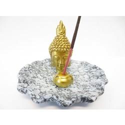 Wierookhouder Thaise Boeddhahoofd grijs/goud