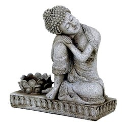 Boeddha met kaarshouder steengrijs