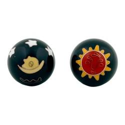 Meridiaankogels Zon & Maan rood geel op zwart