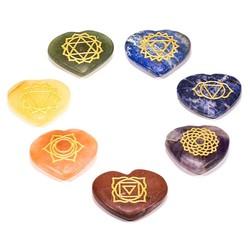 Set 7 chakra symbolen hartvormige halfedelstenen