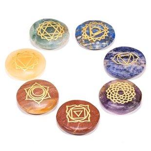 Set 7 chakra symbolen ronde halfedelstenen