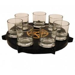 SET waxinelichthouder Pentakel 7 glaasjes
